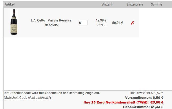 L.A. Cetto   Private Reserve Nebbiolo 2009   6 Flaschen Rotwein für 41,44€ dank 25€ Rabattcode mit 50€ MBW