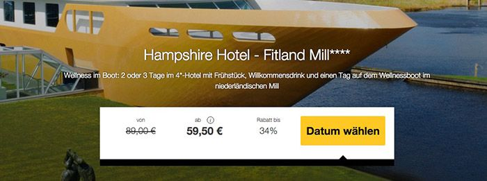 1 oder 2 Nächte Holland im top bewertetem 4*Hotel + Wellnessboot Zugang ab 59,50€ p.P.