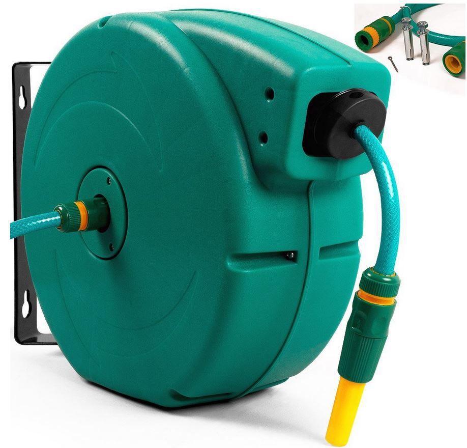 DEUBA   automatischer Gartenschlauch Aufroller mit 20m Schlauch + Universalkupplung + Spritze für 44,95€