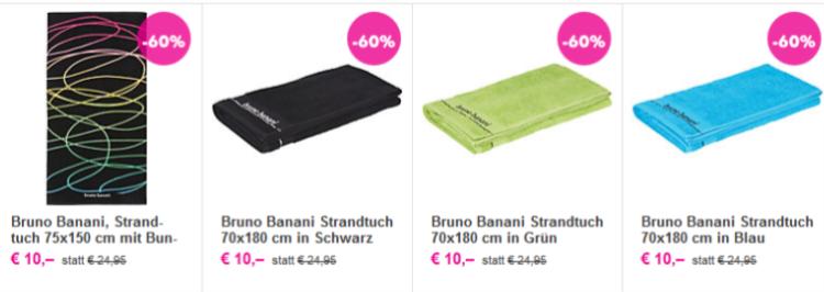 3 Bruno Banani Strandtücher für nur 20€