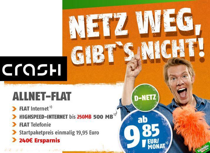 crash Telekom All Net Flat in alle deutschen Netze inkl. 500MB Daten für nur 9,85€ mtl.