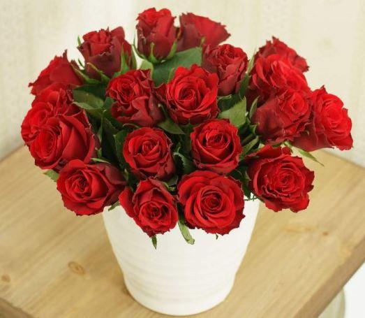 20 rote Rosen inklusive Grußkarte für nur 17,56€