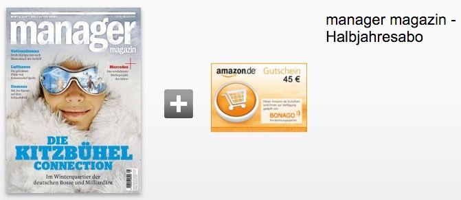 manager Magazin Halbjahresabo für 58,10€ + 45€ Gutschein