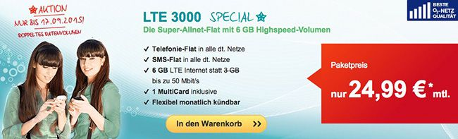 o2 LTE 3000 o2 Allnet Flat und 6GB LTE + EU Einheiten für nur 24,99€ monatlich