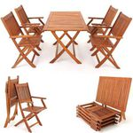 SYDNEY – Garten Sitzgruppe Akazienholz Tisch mit 4 Stühlen für 139,95€