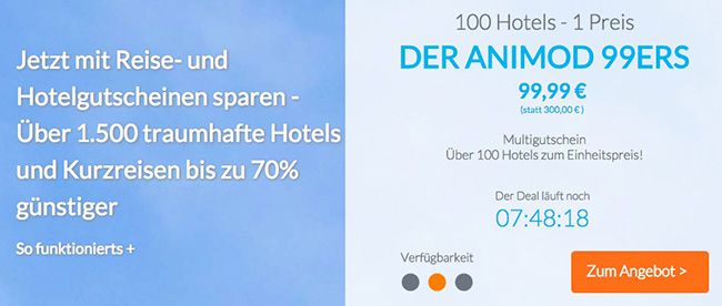 Für 140 Minuten ganze 14€ geschenkt auf jeden Hotelgutschein bei Animod
