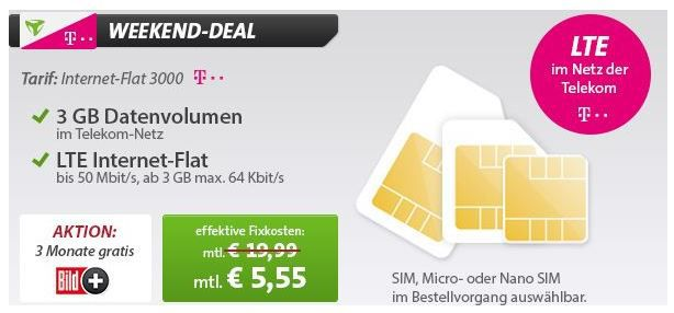 3GB Telekom Daten gratis Telekom 3GB Datenflat im LTE und UMTS Netz effektiv für nur 5,55€ mtl! *HOT*