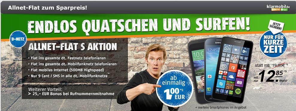 Allnet flat kostenlos Allnet Flat S + 500MB Daten im Telekom Netz + Smartphone ab 1€ einmalig für 12,85€ mtl.