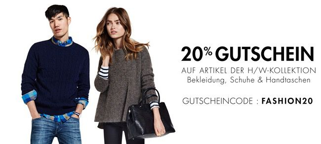Amazon Fashion Gutschein 20% Rabatt auf die Herbst/Winter Kollektion bei Amazon   Kleidung, Schuhe & Handtaschen