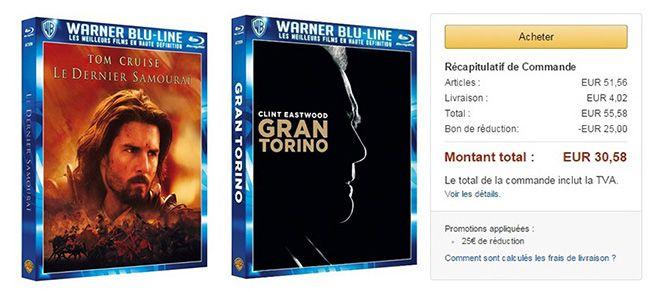 25€ Rabatt ab 50€ auf Blu rays & DVDs bei Amazon Frankreich