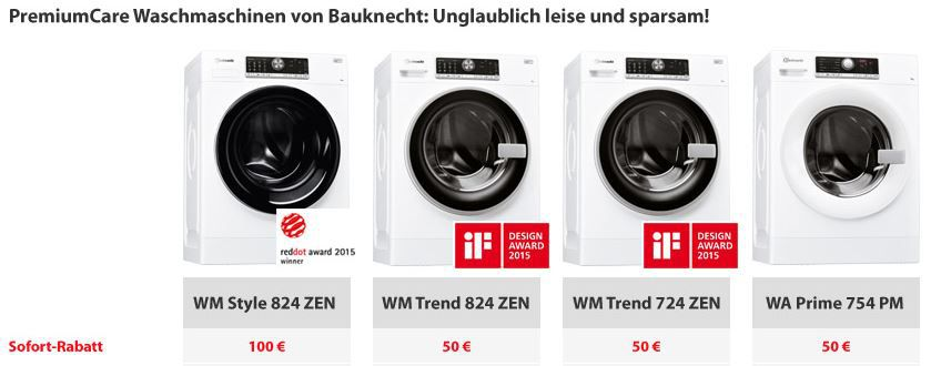 Baucknecht Waschmaschinen   auf ausgewählte Modelle bis zu 100€ Sofortrabatt