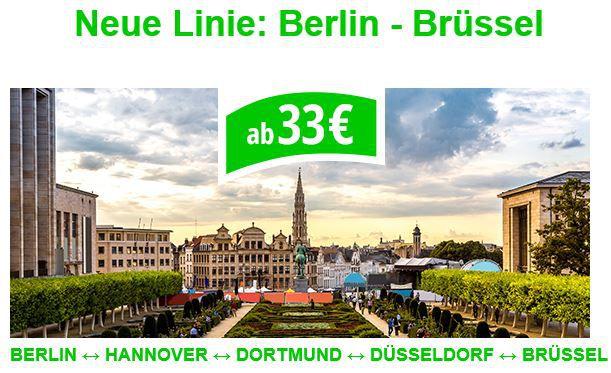 Flixbus mit neuen Linien ab 5€ oder z.B. von Berlin nach Brüssel ab 33€