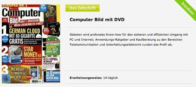 ComputerBILD Jahresabo ComputerBILD mit DVD im Jahresabo für 39,80€