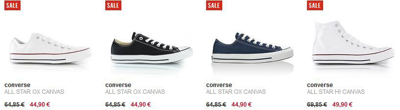 Converse Sale Converse All Star Chucks OX Canvas und All Star Hi ab 31,43€ dank Gutscheincode