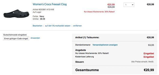 Crocs Warenkorb 30% Rabatt auf ALLES bei Crocs + 25% Gutschein + kostenloser Versand