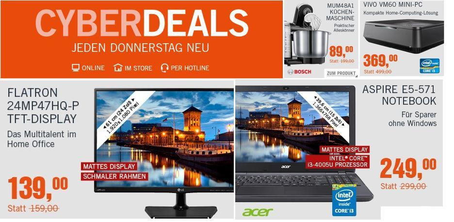 Cyberdeals Gutschein Bosch MUM48A1 Küchenmaschine für 89€   Lenovo B50 70 Notebook mit i3 für 315€ in den Cyberdeals