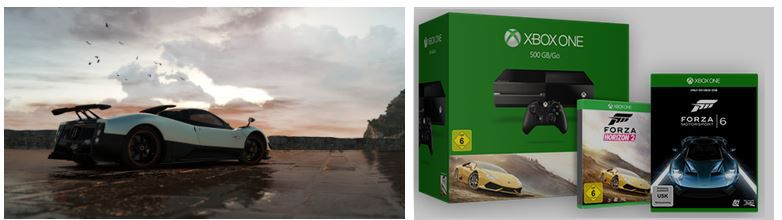 Xbox one Konsole mit 500 GB Festplatte + Forza Horizon 2 + Forza 6 für 369€