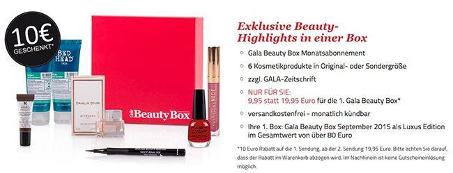 Gala Beauty Box für 9,95€   Kündigung per Klick möglich