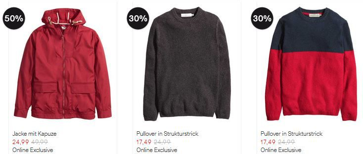 H&M   Online Sale mit bis zu 50% Rabatt auf ausgewählte Kleidung + VSK frei