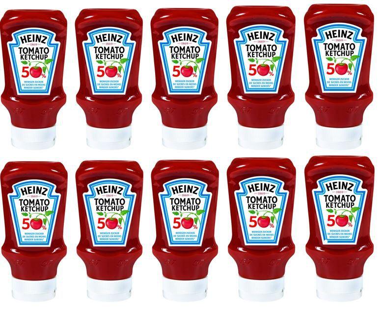 Preisfehler! Heinz Tomato Ketchup   10 Kopfsteher Squeezeflaschen mit insgesamt 4 Liter Inhalt für 7,78€