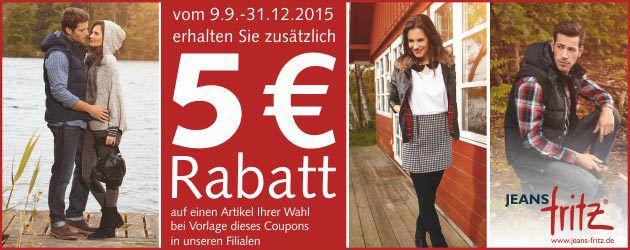 5€ Rabatt Coupon ohne MBW bei Jeans Fritz   nur in den Filialen nutzbar