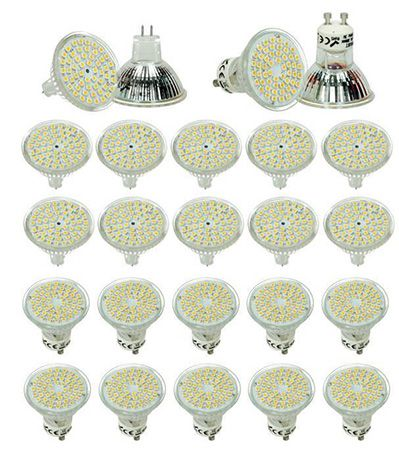 10 Stück LED Strahler GU10/MR16 54 SMD 3W warmweiß für 17,99€