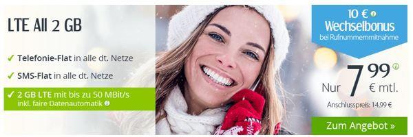 LTE 2GB winSIM LTE M mit Telefonie und SMS Flat + 2GB Daten für 7,99€ mtl.