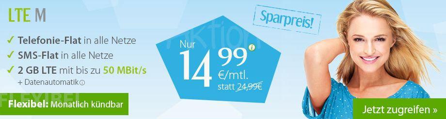 LTE winSIM LTE M mit Telefonie und SMS Flat + 2GB Daten für 14,99€ mtl.