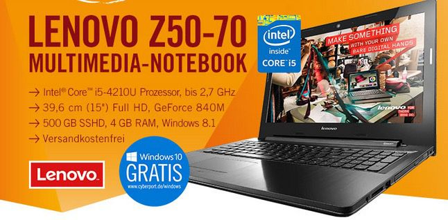 Lenovo Z50 70   15,6 Zoll Full HD Notebook (2,7 GHz, 4GB Ram, 500GB SSHD, Win 8.1) für 444€
