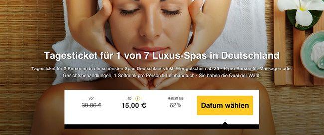 2 Personen Tagesticket für 1 von 7 Luxus Spas in Deutschland ab 15€