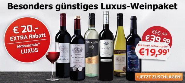 Luxus Weinpaket mit 6 Flaschen für 24,94€