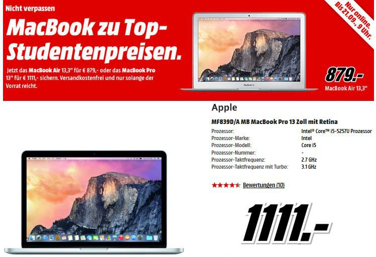 Apple iPad Air 2 16GB WiFi  ab 388€ bei dem Media Markt Apple Sale