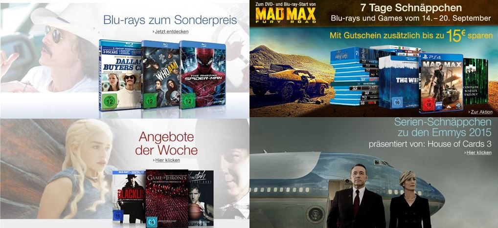 7 Tage Schnäppchen: Filme & Games   DVD + Blu ray + Games Angebote der Woche @ Amazon