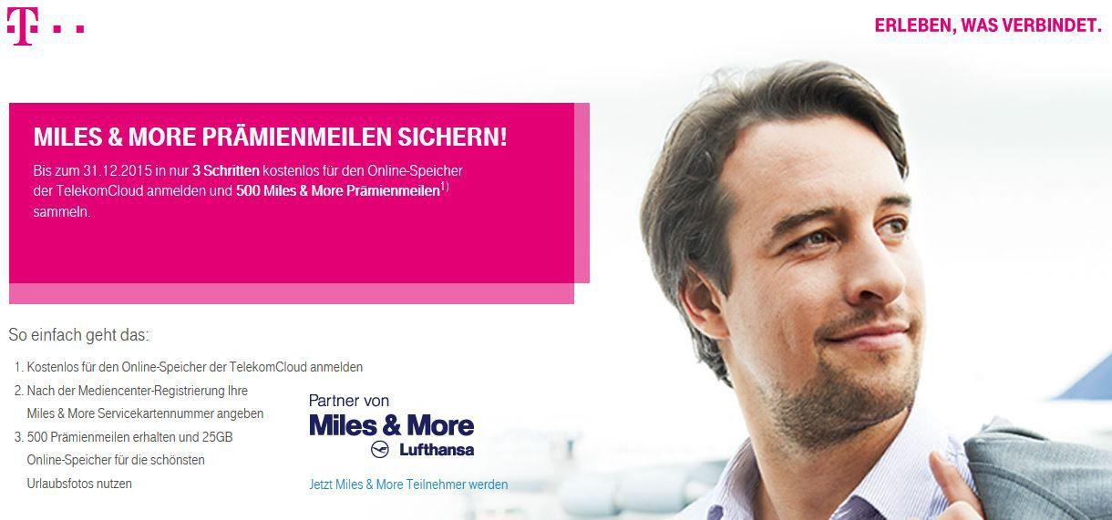 Miles und More Telekom Mediencenter   25GB kostenloser Cloudspeicher + 500 gratis Lufthansa Miles & More Meilen