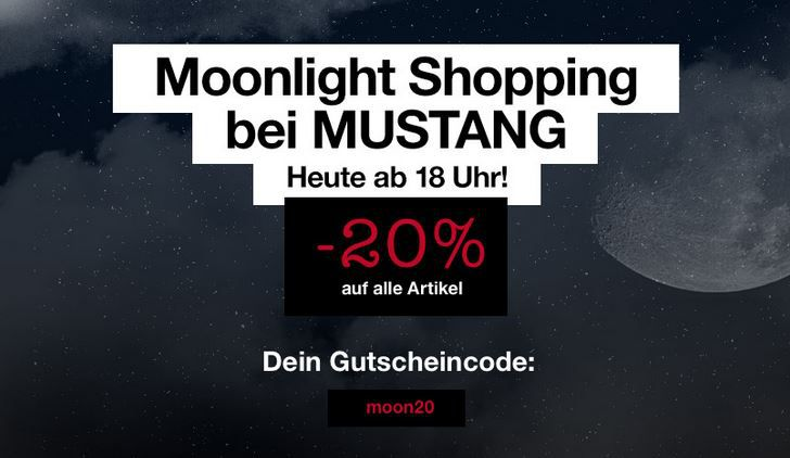 MUSTANG Moonlight Shopping mit 20% Rabatt auf (fast) alles auch Sale Ware!