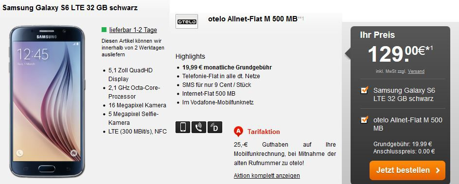 Samsung Galaxy S6 LTE mit 32GB + Vodafone otelo Allnet Flat M Vertrag + 500MB Daten effektiv ab 21,19€