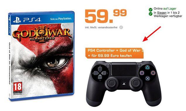 Playstation 4 Controller + God of War 3 Remastered (PS4) für 69,99€