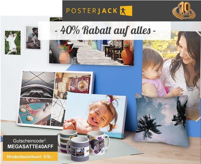 Posterjack mit 40% Rabatt Aktion für Fotogeschenke, Poster, Wohnideen, Fotoleinwände, Druck auf Alu, Acryl und mehr..