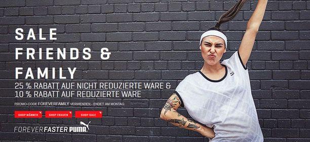 Puma Sale Rabatte 25% Rabatt auf nicht reduzierte Ware oder 10% auf Sale Ware bei Puma