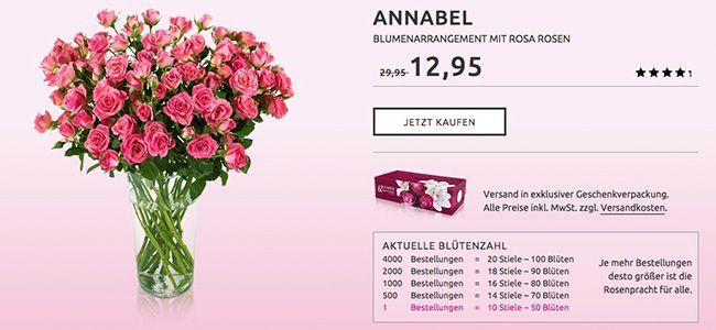 Miflora Rosen Rallye mit bis zu 20 rosa Rosen für 17,90€