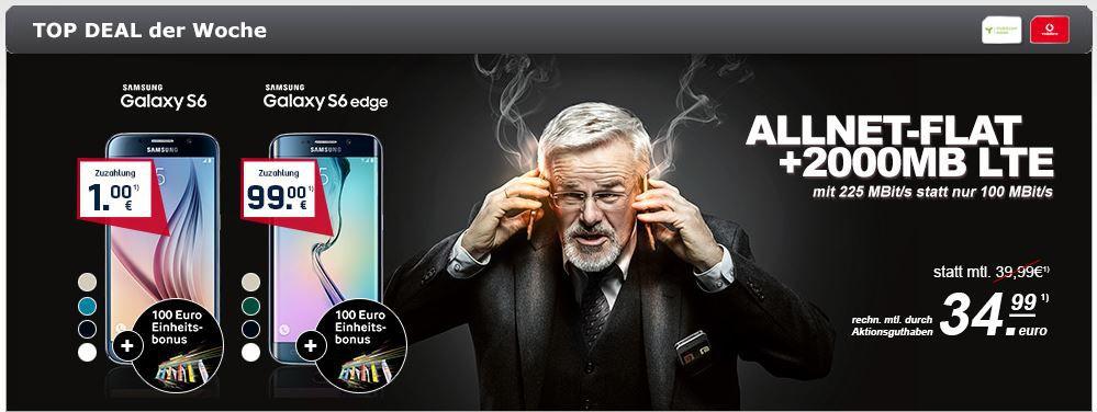 Samsung S 6 gratis Samsung Galaxy S6 32GB mit Vodafone Red Allnet Flat + SMS Flat + 2GB LTE bis zu 225 Mbit/s effektiv für 30,86€ mtl.