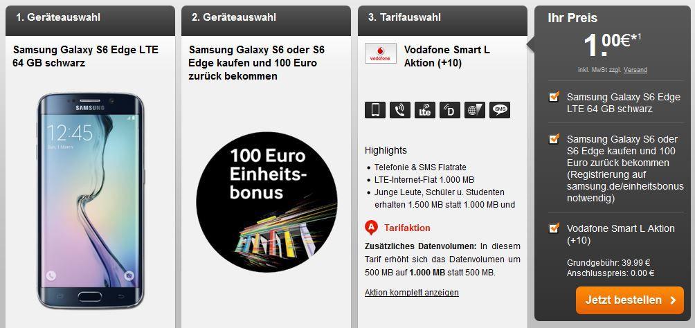 Samsung Galaxy S6 Edge LTE 64 GB + Vodafone Allnet Flat + SMS Flat + 1GB Daten für effektiv 35,82€ mtl