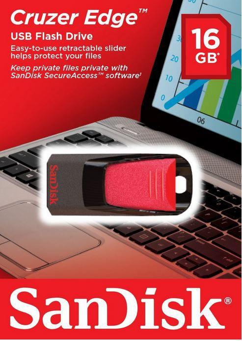 Sandisk Cruzer Edge   16GB USB2 Stick ab 7,95€