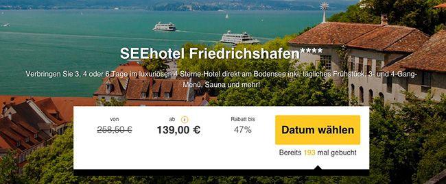 Seehotel Friedrichshafen 3 6 Tage Bodensee im 4 Sterne Hotel mit vielen Extras ab 139€ p.P.