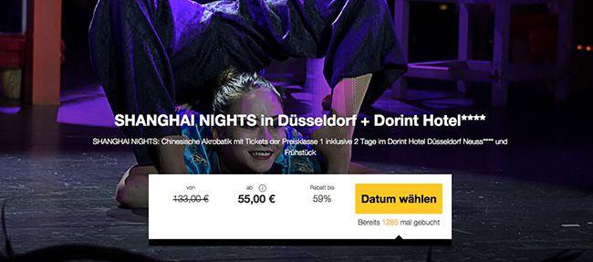 Shanghai Nights (PK 1) Düsseldorf Ticket + Übernachtung im 4 Sterne Hotel ab 55€ p.P.