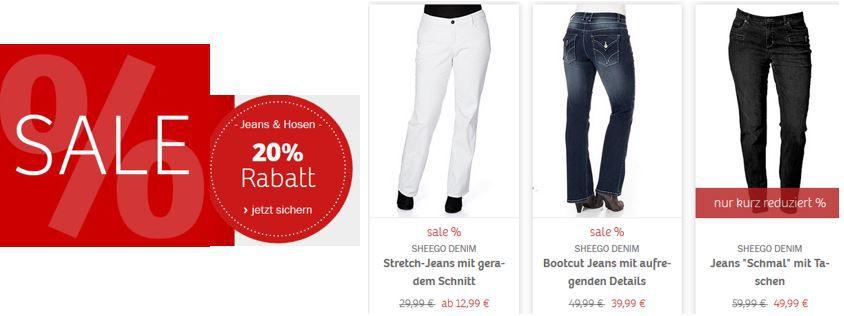 Sheego mit 20% Rabatt auf Damen Jeans und Hosen + 60 % SALE