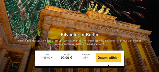 Silvester in Berlin: 3 5 Tage im 3 oder 4 Sterne Hotel mit Frühstück ab 99€ p.P.