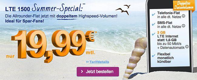 Simply o2 LTE o2 Allnet Flat mit 3GB LTE für 19,99€ pro Monat   monatlich kündbar