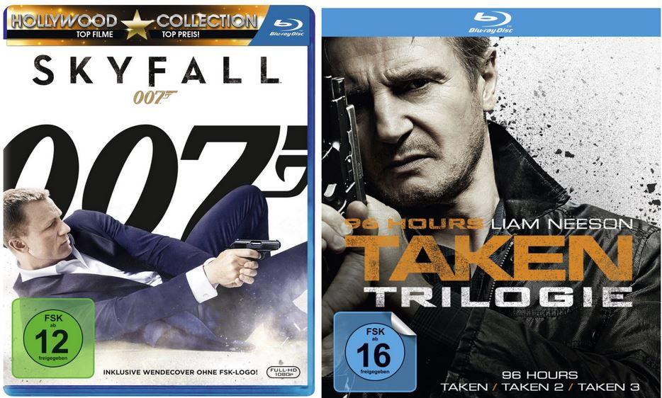Skyfall James Bond 007   Skyfall [Blu ray] für 7,99€   96 Hours die Taken Trilogie 3er Blu ray Box für 20,99€
