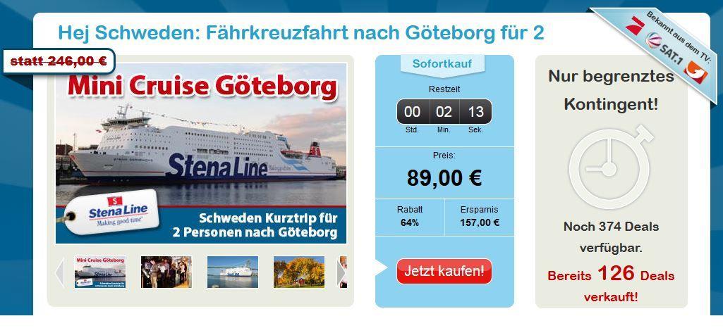 Fährkreuzfahrt: Kiel   Göteborg   Kiel für 2 Personen 3 Tage statt 246€ für nur 89€
